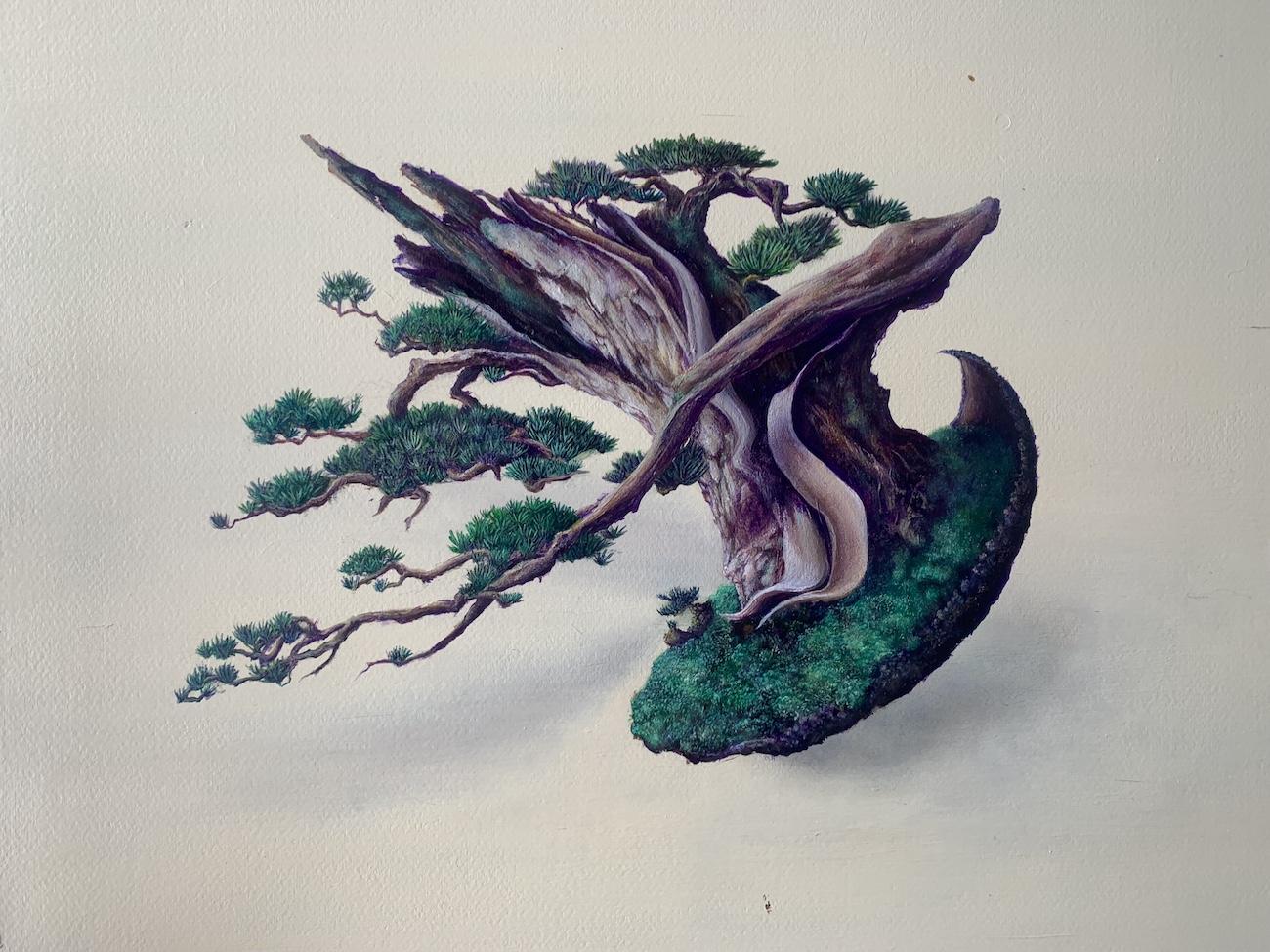アクリル絵具で木の描き方の作業工程をお見せしましょう!盆栽は日本の心!