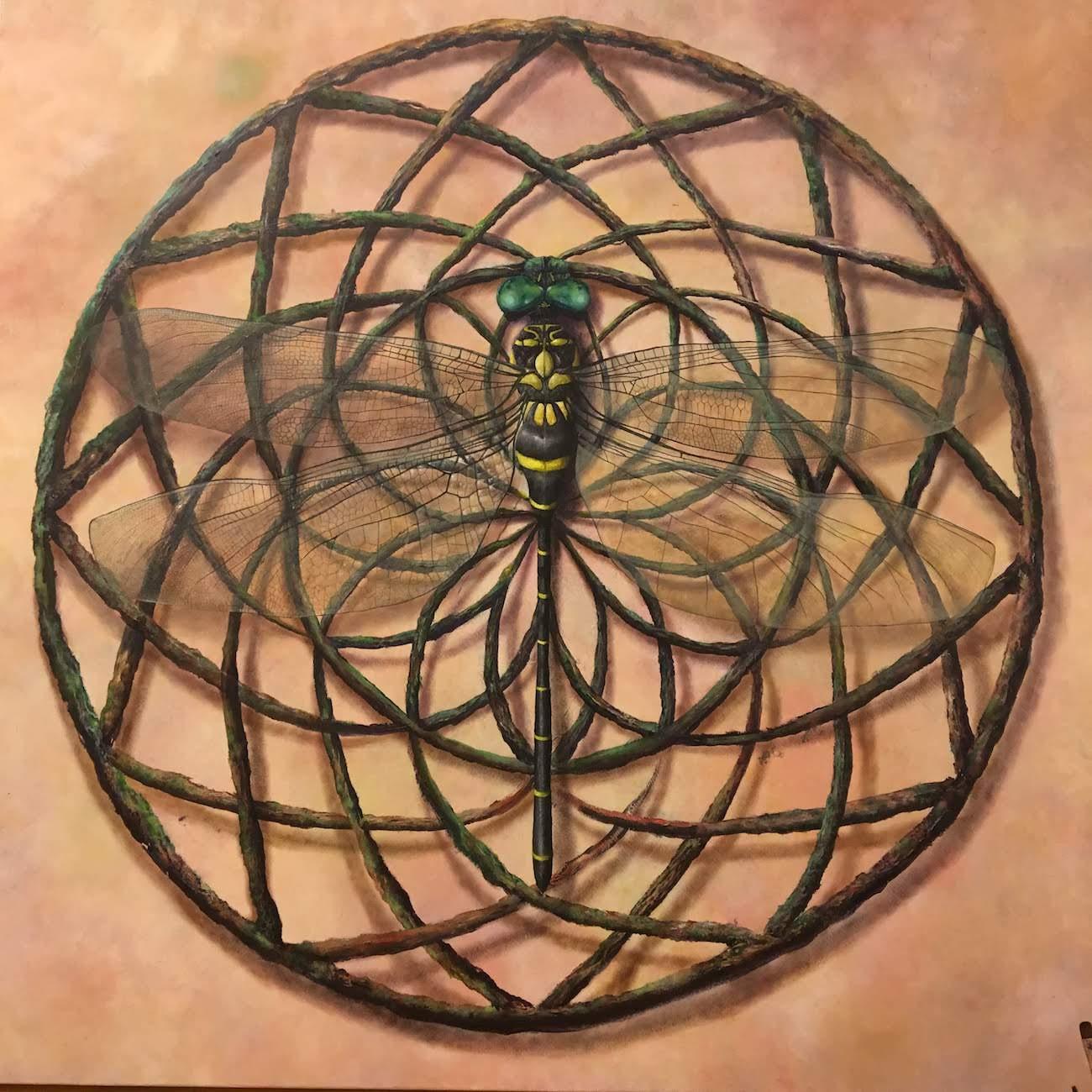 トンボのアクリル絵具での描き方を調べても出てこなかったので超緻密に描いてみた。