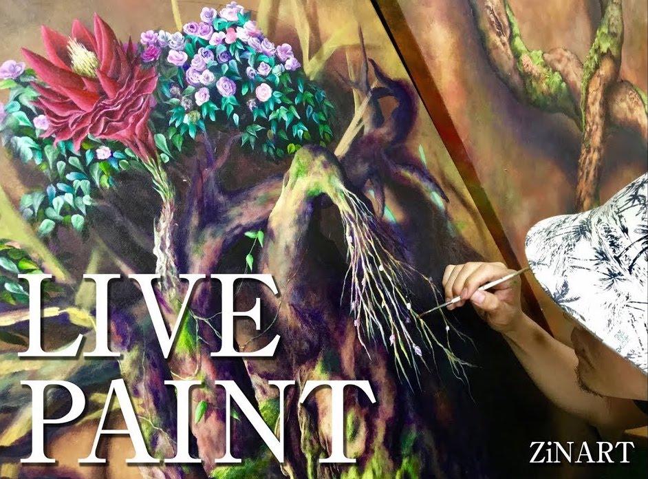 絵画教室ZiNARTで教えている作品「KODOU」ライブペイント動画
