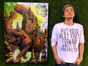 ZiNの絵画「シロノゾウ」のグッズを沖縄ギャラリーで販売して行こうと思う。